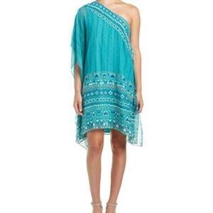 BCBGMaxAzria Teal Alana One Shoulder Dress
